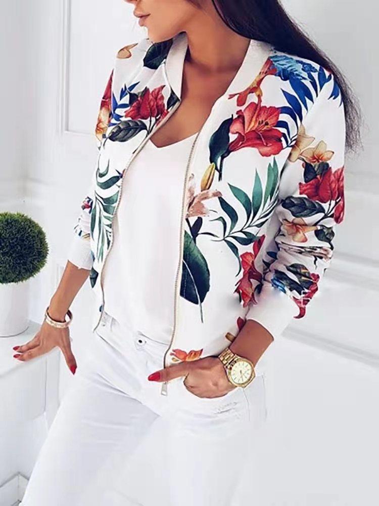 Women's Printed Long Sleeve Short Jacket